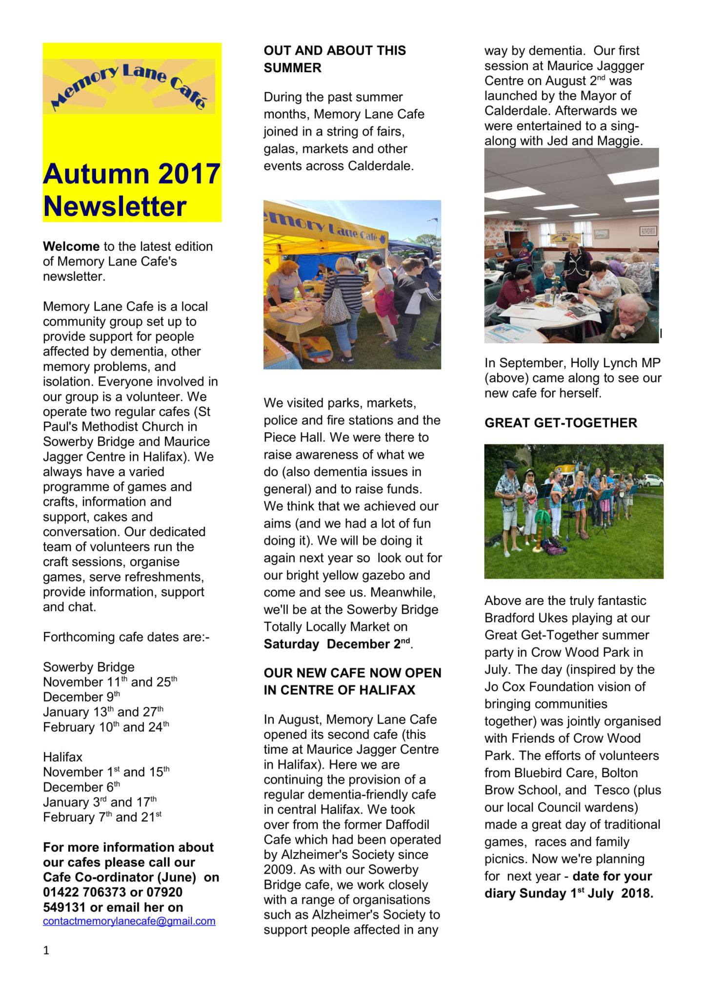 Memory lane Cafe Calderdale Newsletter-AUTUMN 2017